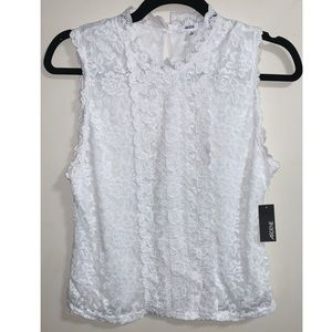 Ardene White Lace Sleeveless Top - Size Large